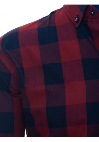 Bordově-modrá kostkovaná košile s dlouhým rukávem pro pány