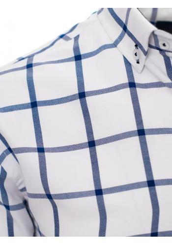Kostkovaná pánská košile bílo-modré barvy s dlouhým rukávem