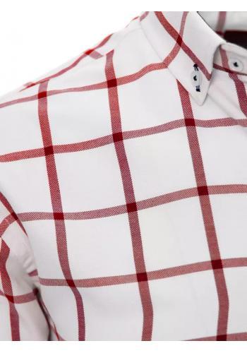 Pánská košile s červeným kostkovaným vzorem v bílé barvě