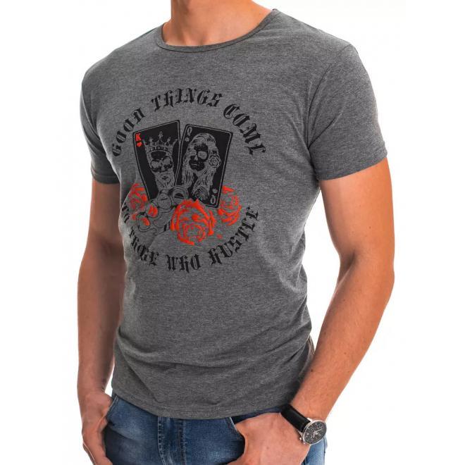Šedé klasické tričko s potiskem pro pány
