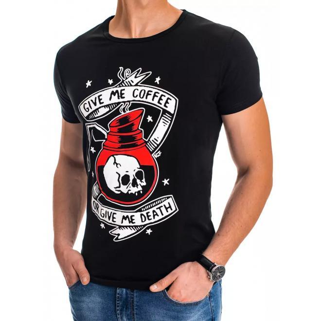 Stylové pánské trička černé barvy s potiskem