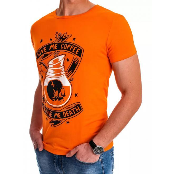 Oranžové stylové tričko s potiskem pro pány