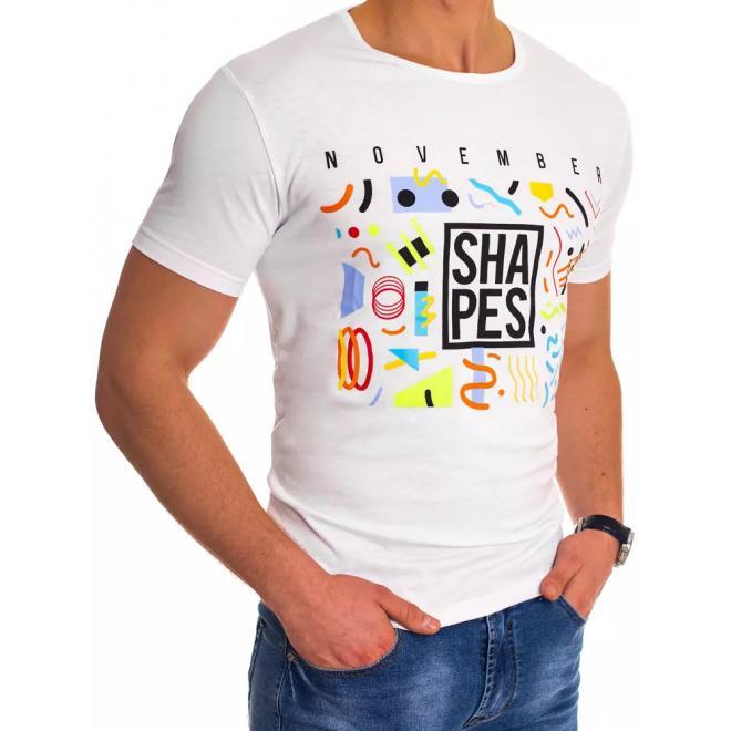 Pánské klasické tričko s barevným potiskem v bílé barvě
