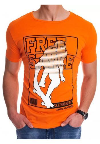 Sportovní pánské tričko oranžové barvy s potiskem