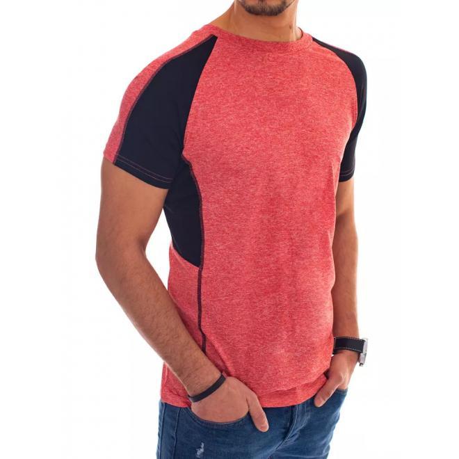 Červené módní tričko s krátkým rukávem pro pány