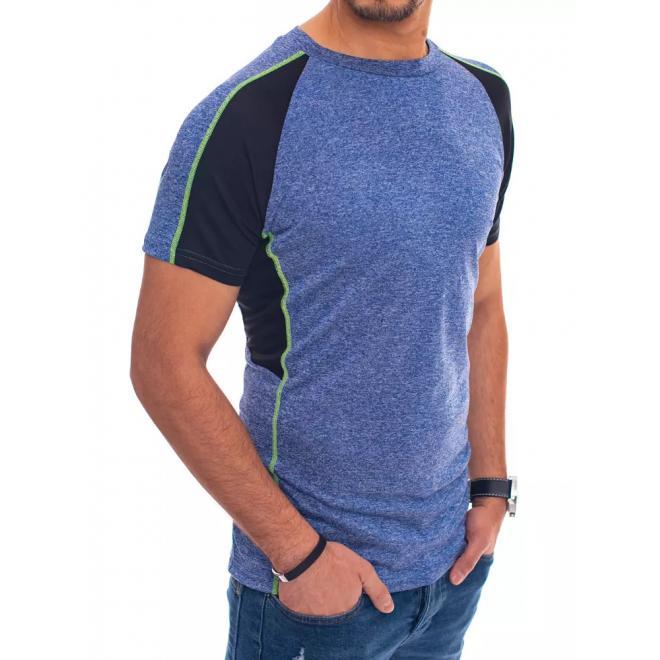 Pánské módní trička s krátkým rukávem v modré barvě