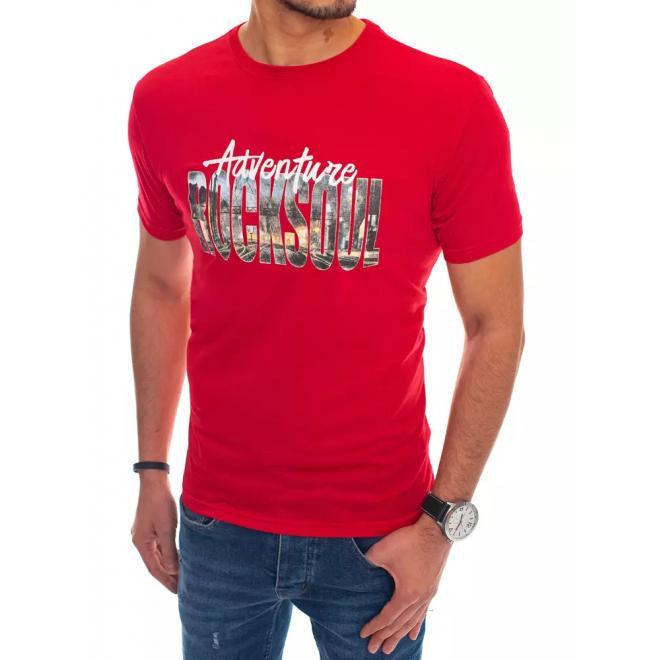 Červené bavlněné triko s potiskem pro pány