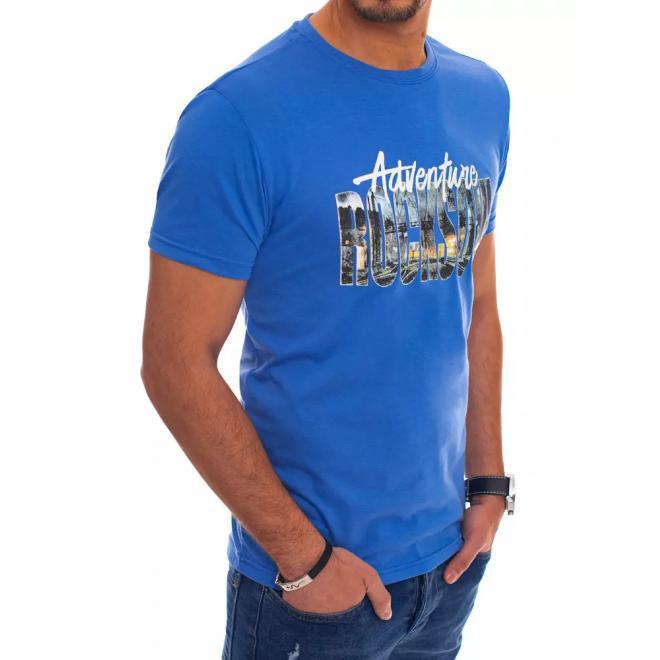 Pánské bavlněné tričko s potiskem v modré barvě