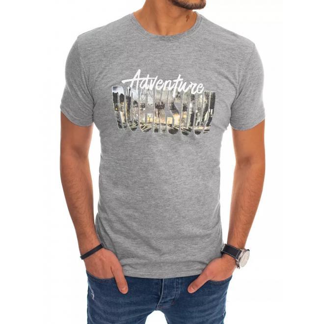 Bavlněné pánské tričko světle šedé barvy s potiskem