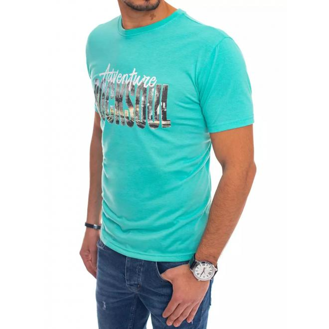 Mátové bavlněné triko s potiskem pro pány