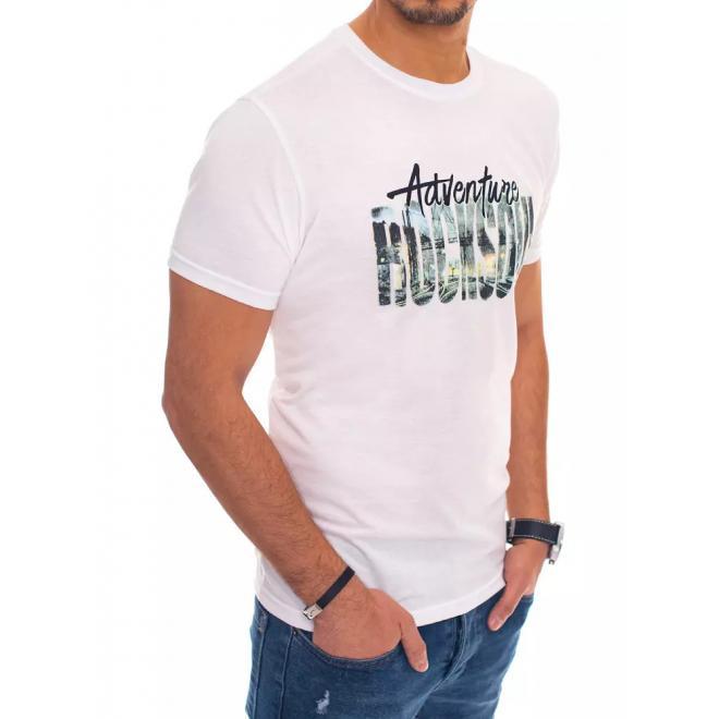 Pánské bavlněné trička s potiskem v bílé barvě