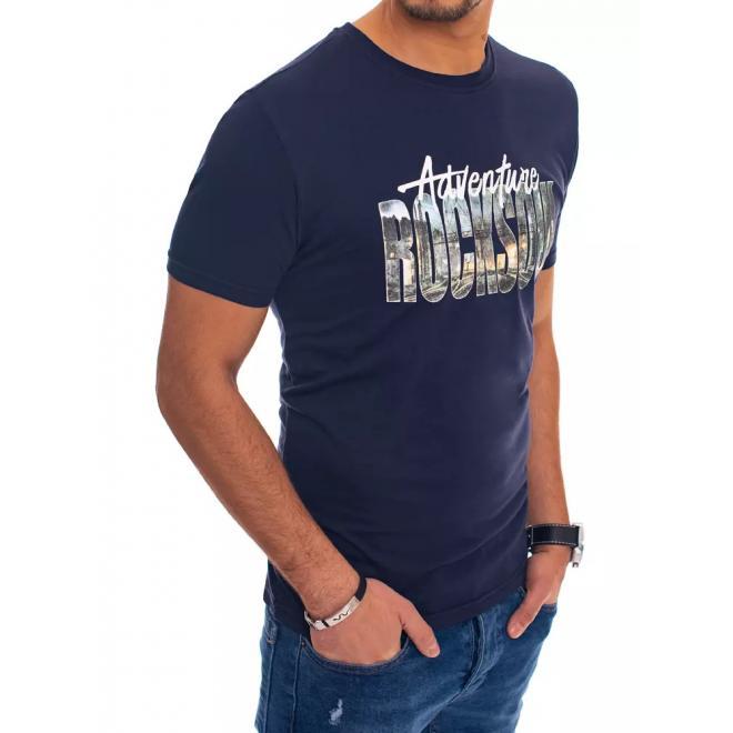 Tmavě modré bavlněné triko s potiskem pro pány