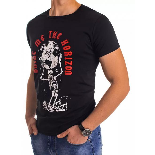 Klasické pánské tričko černé barvy s potiskem