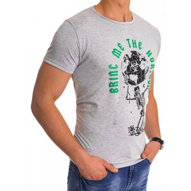 Světle šedé klasické tričko s potiskem pro pány