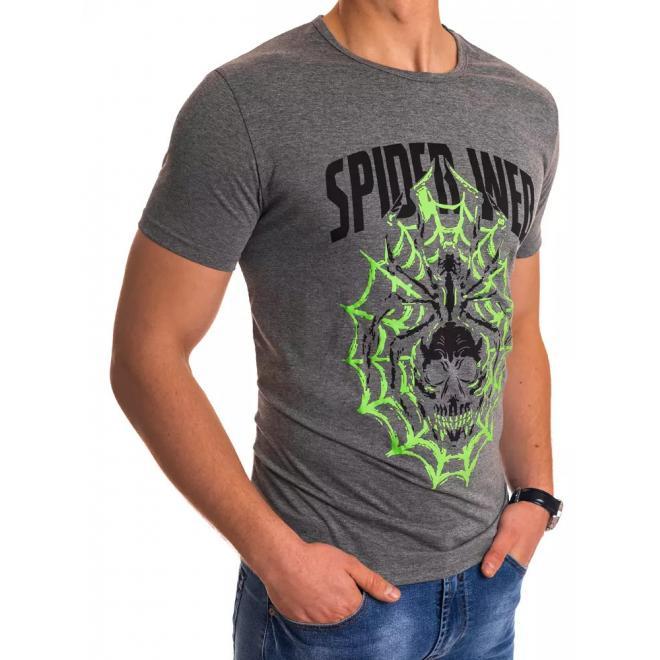 Tmavě šedé módní tričko s potiskem pro pány