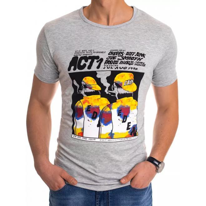 Světle šedé sportovní tričko s potiskem pro pány