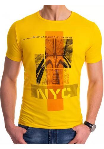 Klasické pánská trička žluté barvy s potiskem