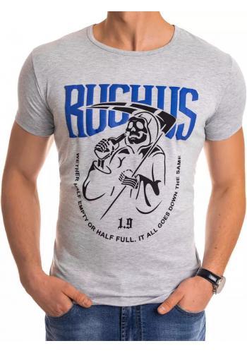 Světle šedé módní tričko s potiskem pro pány