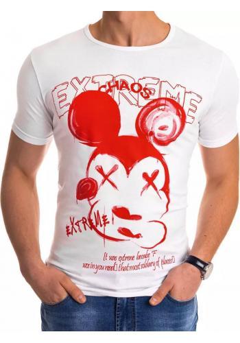 Pánské stylové tričko s potiskem v bílé barvě