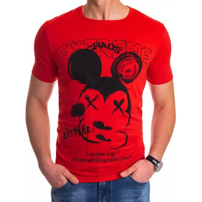 Stylové pánské tričko červené barvy s potiskem
