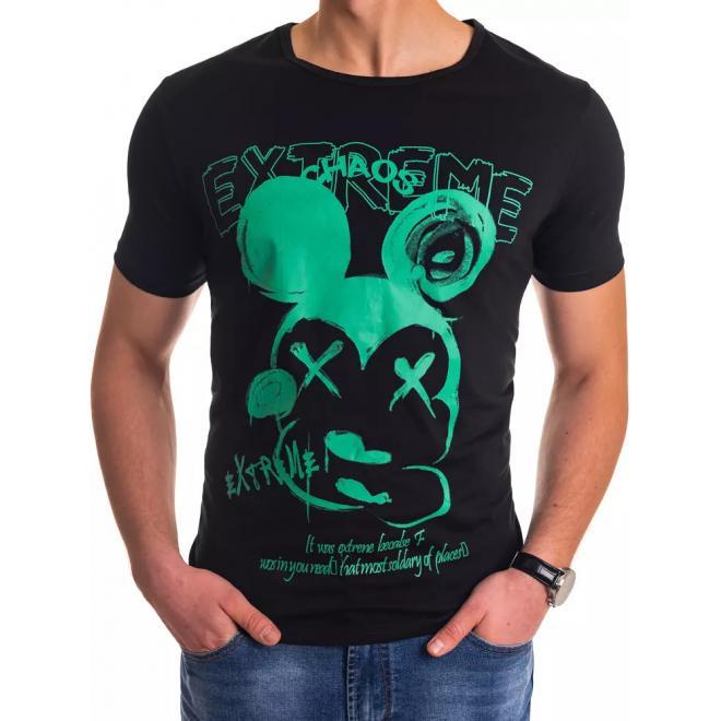 Černé stylové trička s potiskem pro pány
