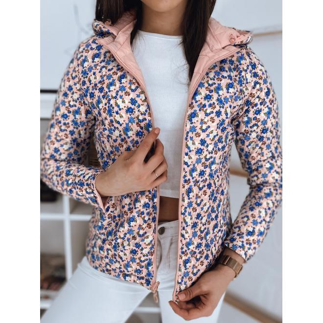 Oboustranná dámská bunda růžové barvy s prošíváním