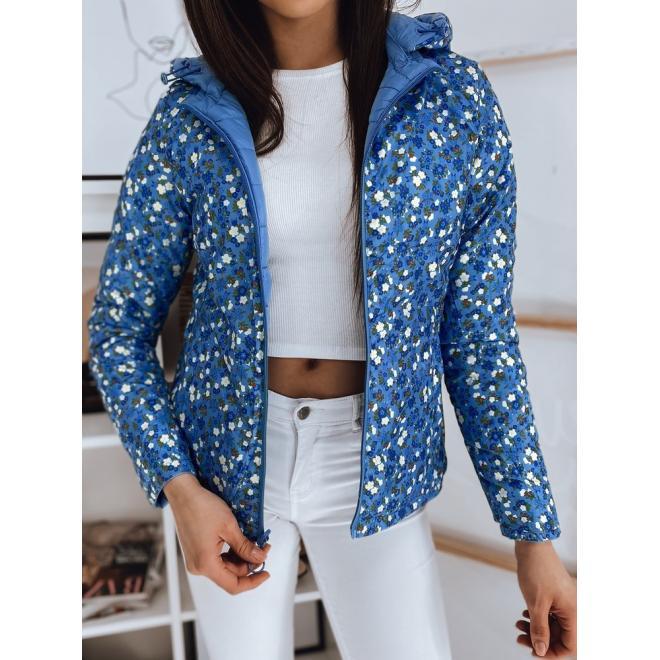 Oboustranná dámská bunda modré barvy s prošíváním
