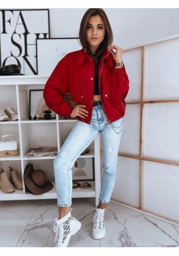 Červená oversize bunda na přechodné období pro dámy