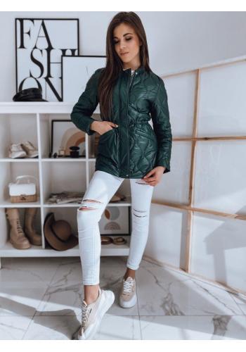 Prošívaná dámská bunda zelené barvy na jaro