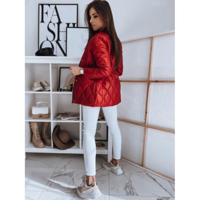 Dámská prošívaná bunda na jaro v červené barvě