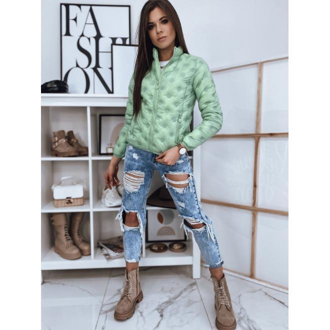Prošívaná dámská bunda zelené barvy s jemným leskem