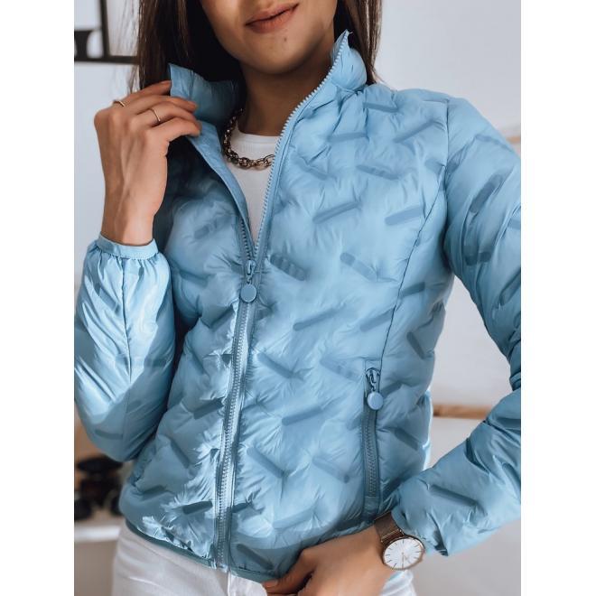 Modrá prošívaná bunda na jaro pro dámy