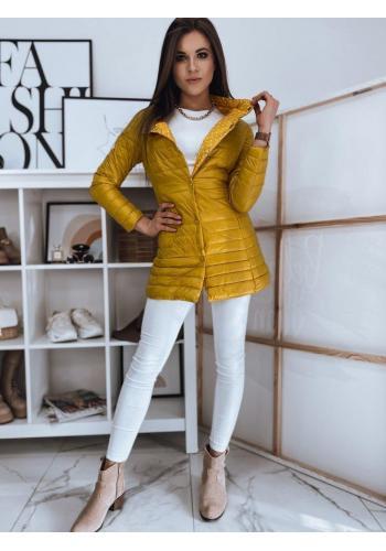 Delší prošívaná dámská bunda žluté barvy na jaro