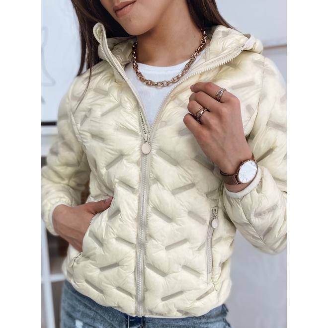 Přechodná dámská bunda vanilkové barvy s kapucí