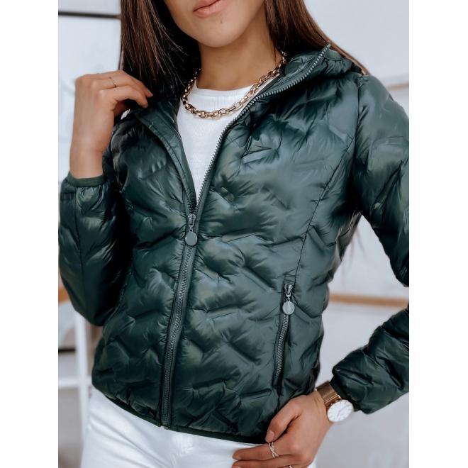 Dámská přechodná bunda s kapucí v zelené barvě
