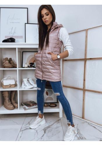 Růžová delší prošívaná vesta s kapucí pro dámy