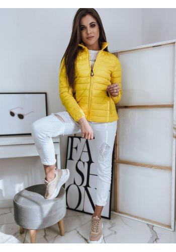 Prošívaná dámská bunda žluté barvy bez kapuce