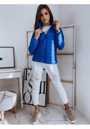 Dámská prošívaná bunda bez kapuce v modré barvě