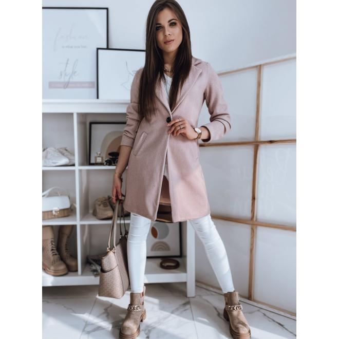 Růžový klasický kabát s límcem pro dámy