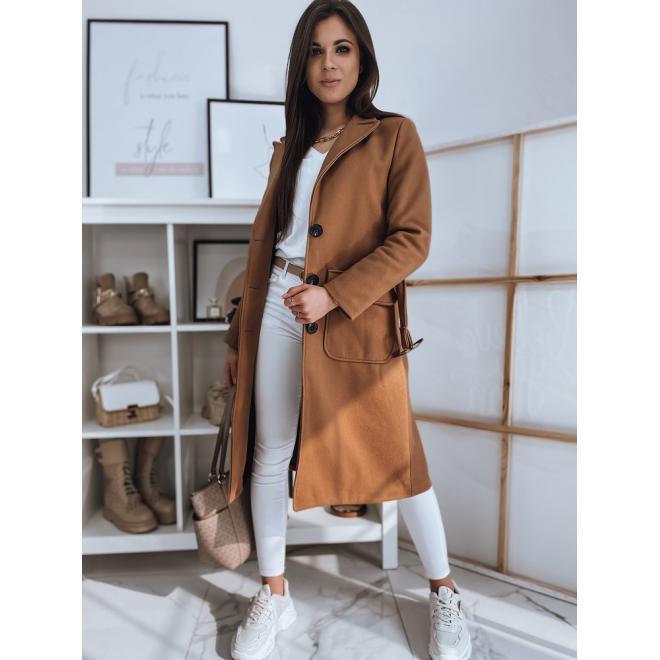 Přechodné dámské kabáty hnědé barvy s páskem