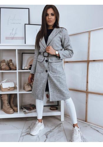 Světle šedý přechodný kabát s páskem pro dámy