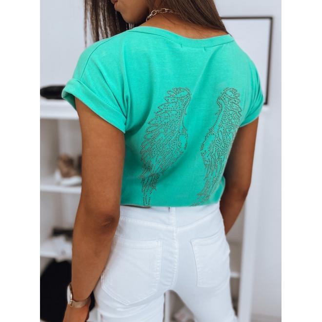 Mátové klasické tričko se zdobením na zádech pro dámy