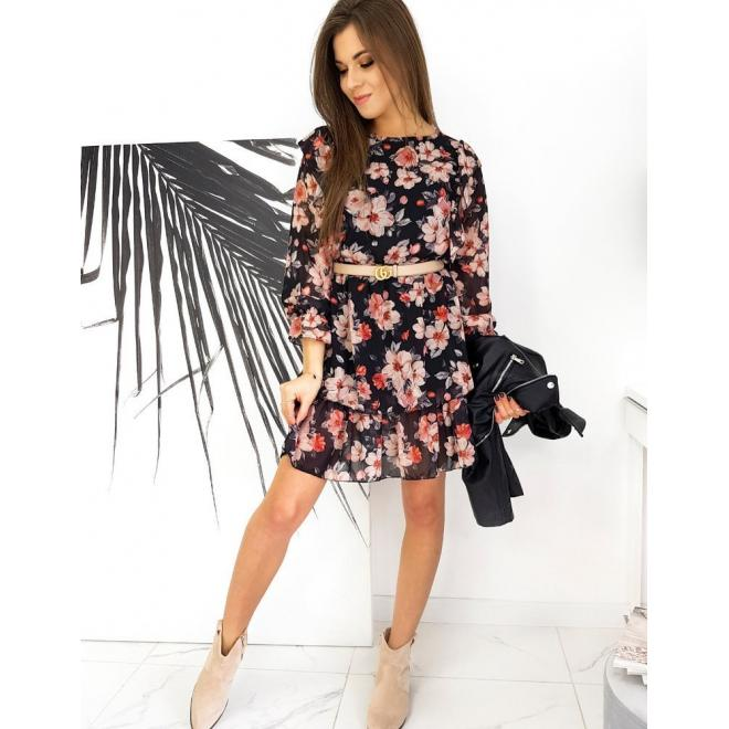 Černé květované šaty s volány pro dámy