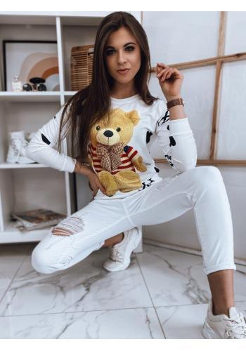 Bílá stylová mikina s potiskem medvěda pro dámy