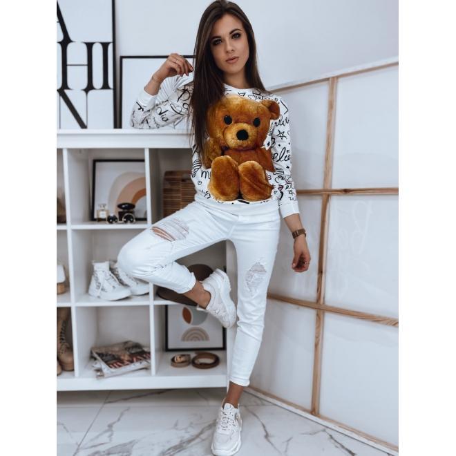 Bílá módní mikina s potiskem medvěda pro dámy