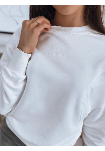 Bavlněná dámská mikina bílé barvy