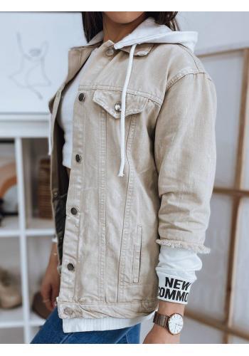 Béžová stylová bunda s kapucí pro dámy