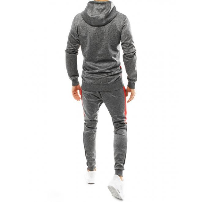 Pánská tepláková souprava s kontrastními prvky v tmavě šedé barvě