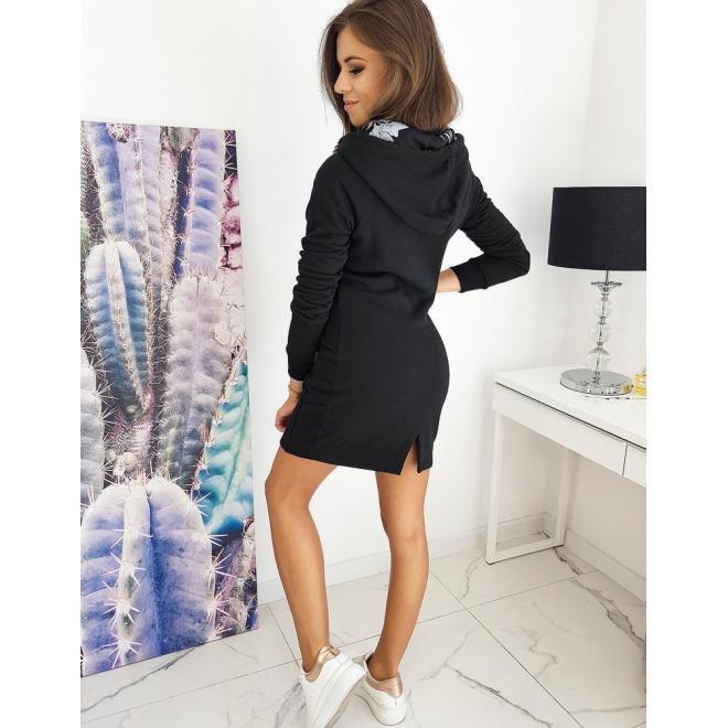 Mikinové dámské šaty černé barvy s kapucí
