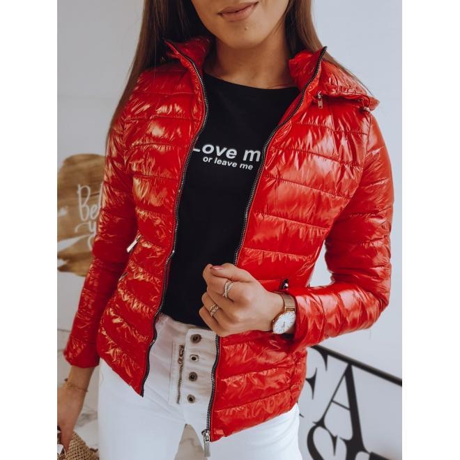 Červená prošívaná bunda na jaro pro dámy